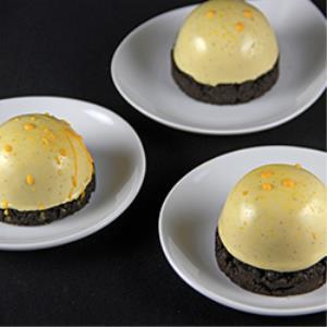 Black Cocoa Streusel and Vanilla Passion Fruit Dome